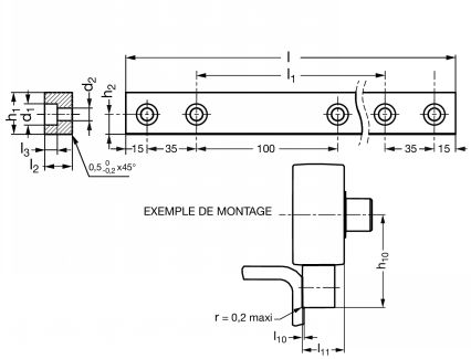Rail de guidage plat - Plan